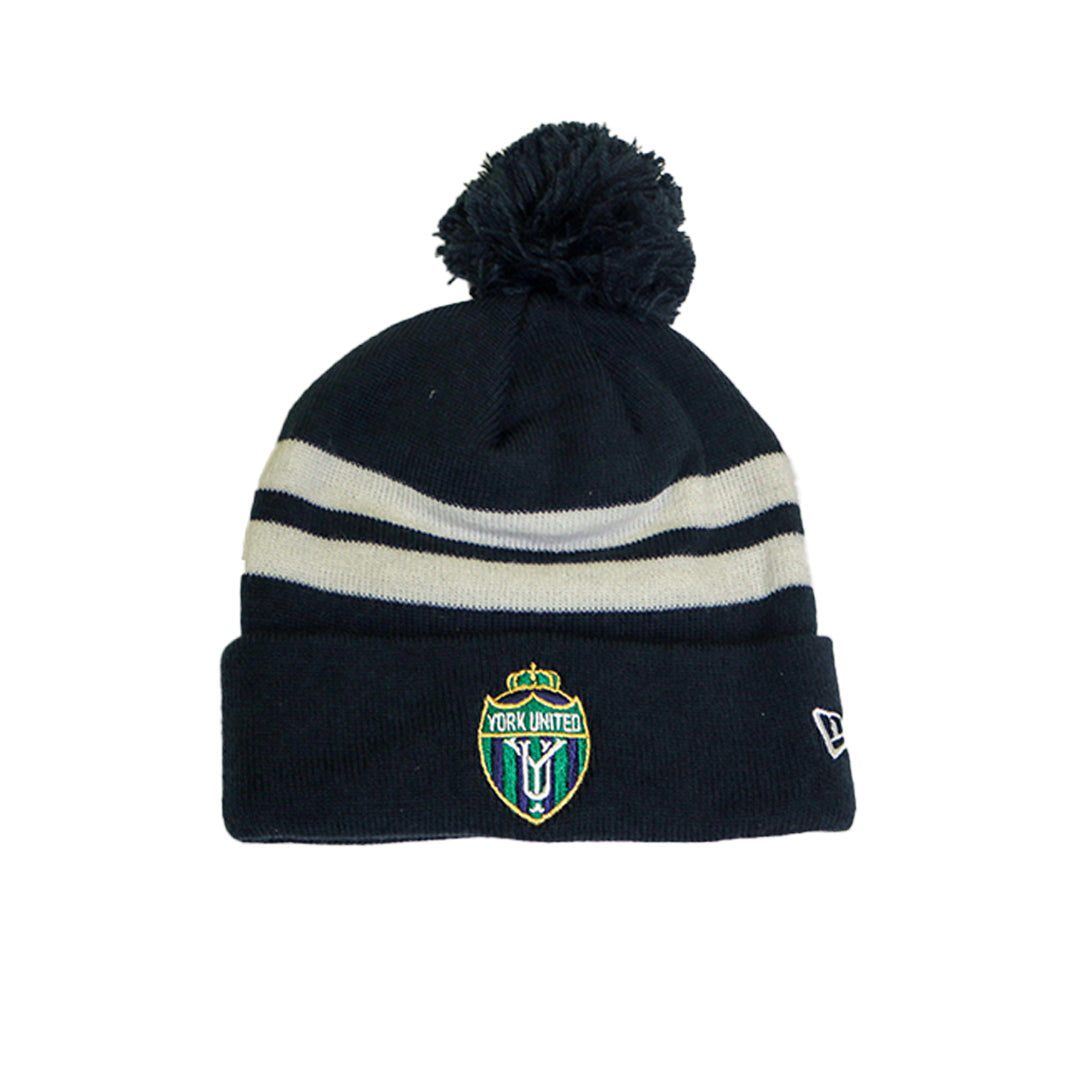 York United Blue New Era Striped Pom Toque
