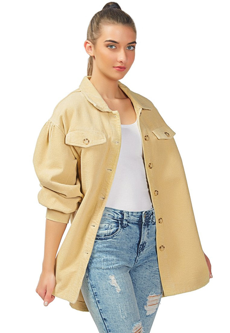 BEING MY WAY OVER-SIZED CORDUROY SHIRT IN TAN