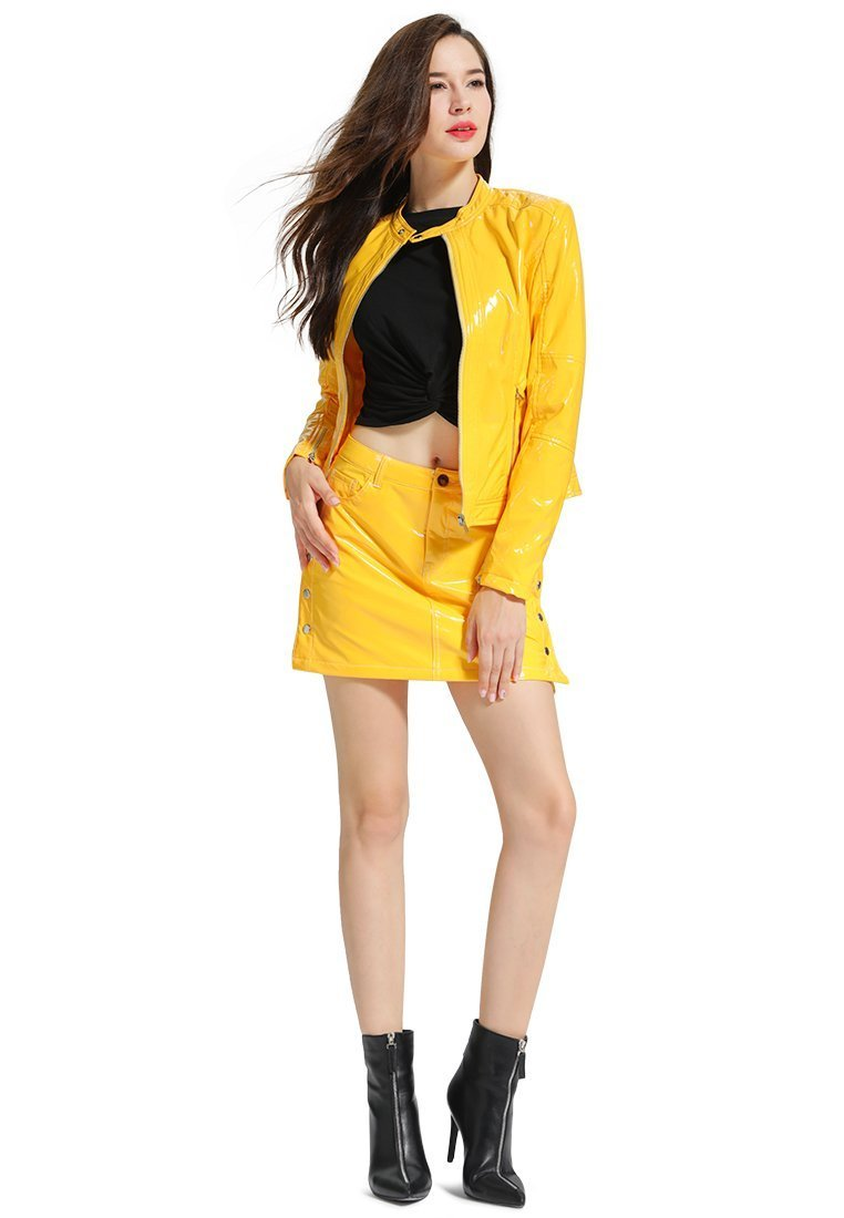 FAUX LEATHER MUSTARD CO-ORD SET