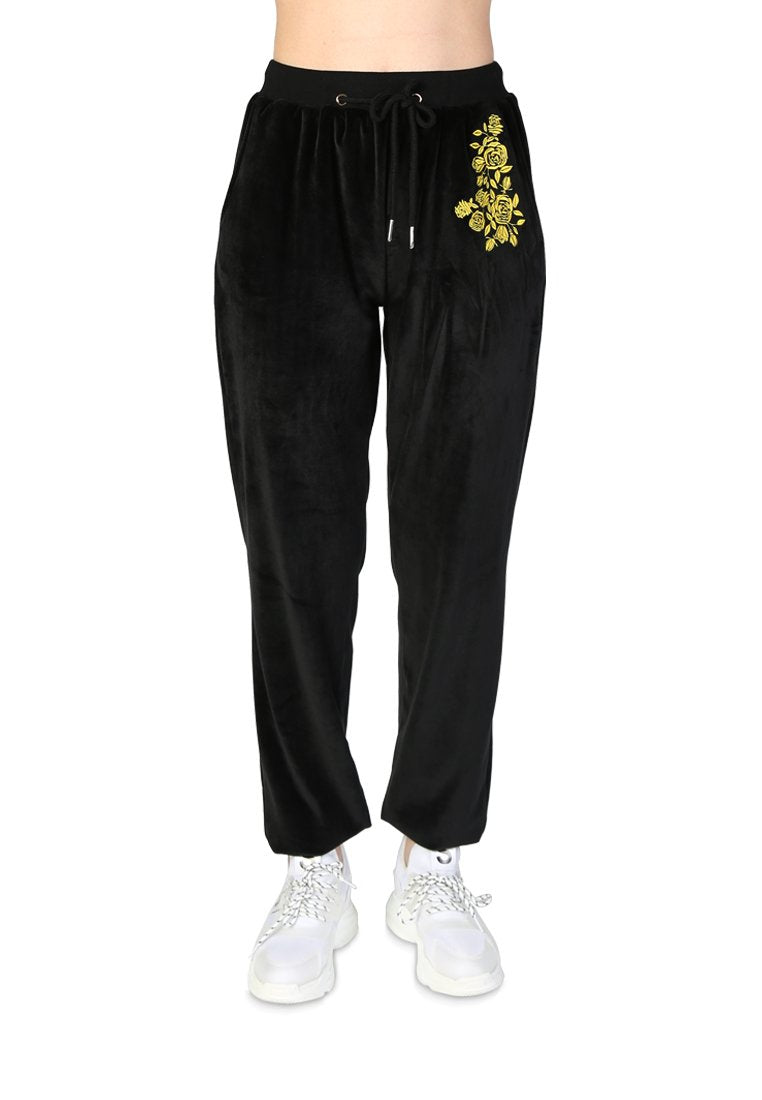 VELOUR CUFFED JOGGERS WITH DRAWSTRING