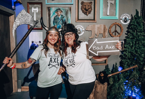 Axe throwing bachelorette party shirts tap that axe giving the single life the axe