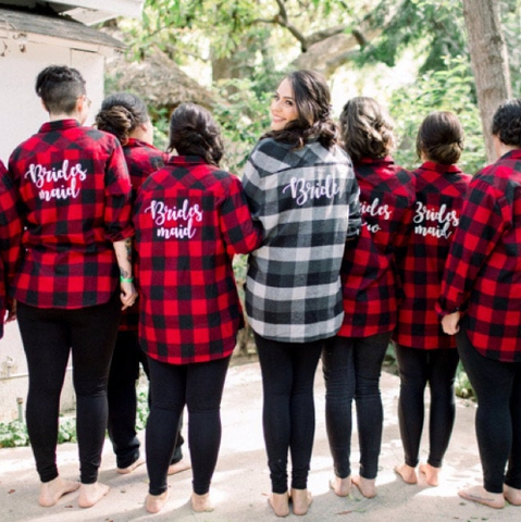 Bachelorette Bride to be and Bridesmaid Flannels with Back Design Bridal Party