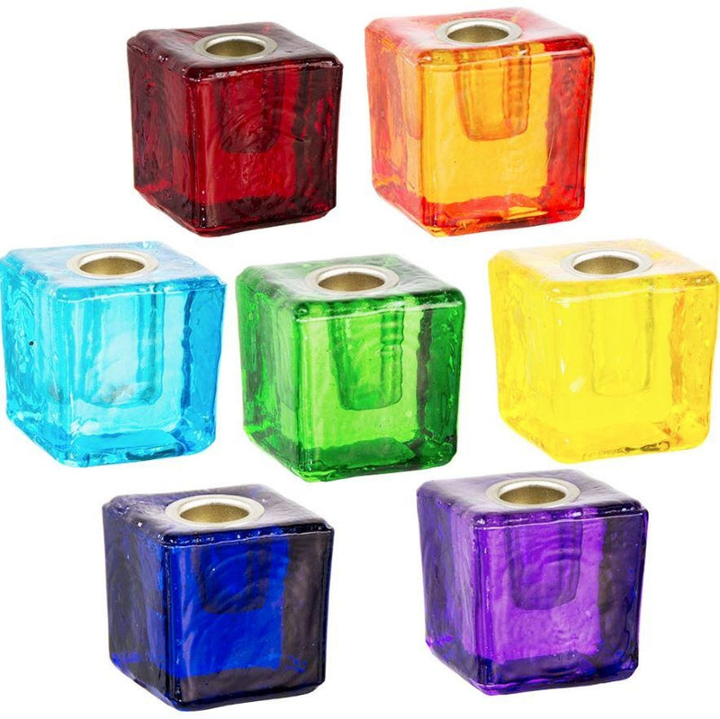 Candle Holder, Mini Glass Cube w/Metal Insert