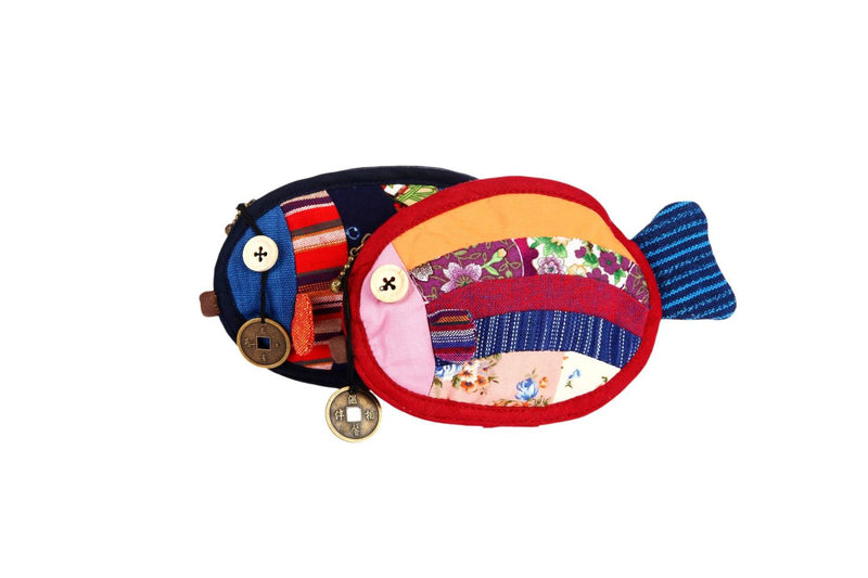 Coin Purse, Fish-Burgundy Patchwork