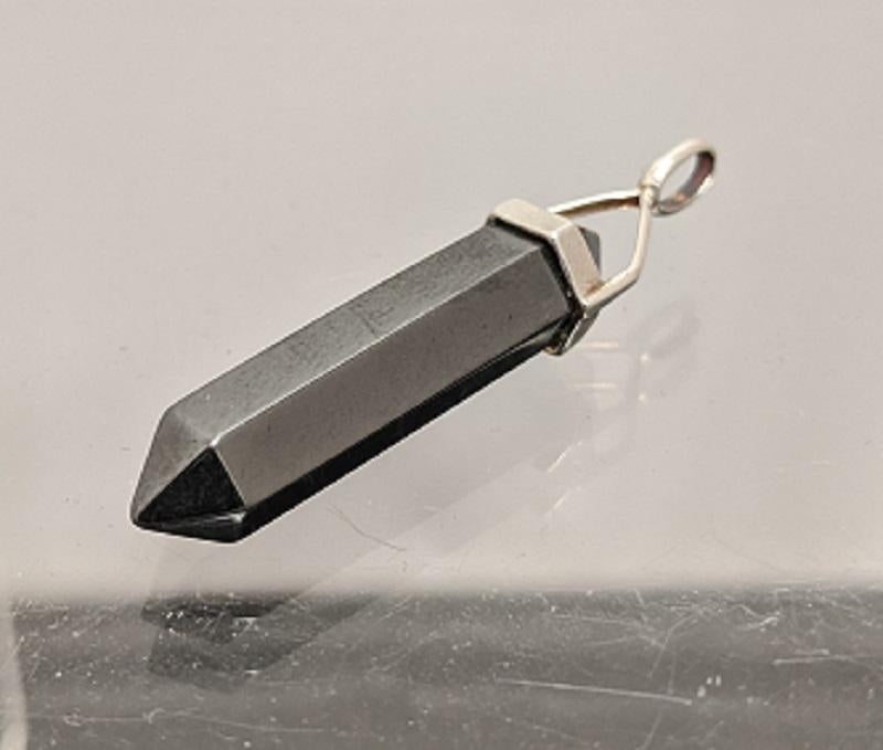 Hematite and Sterling Silver Pendant, Approx. 1.75 in.