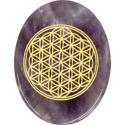 Pocket Stone, Flower of Life-Amethyst