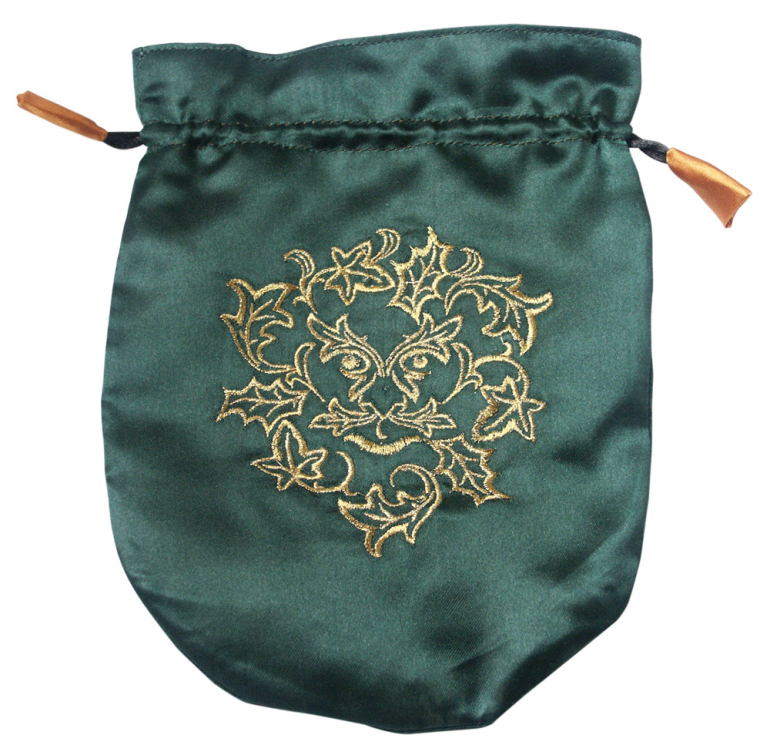 Pouch, Satin  6 x 8 Green Man - Dark Green w/Gold satin lining