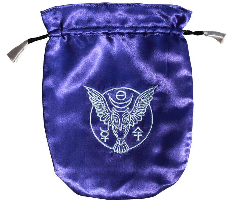 Pouch, Velvet 6 x 8 Owl - Blue w/silver satin lining
