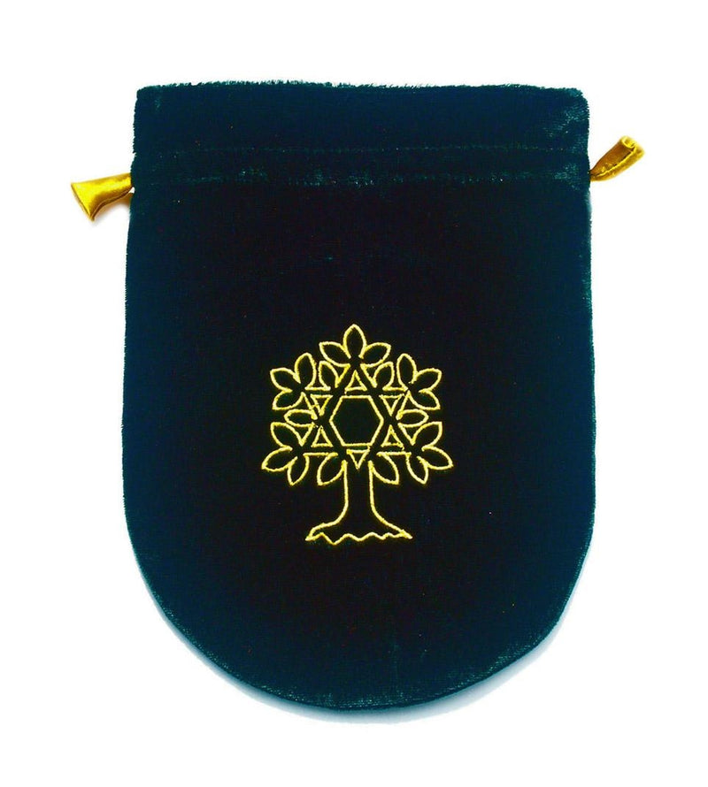 Pouch, Velvet 6 x 8 Tree of Life - Green w/Gold satin lining