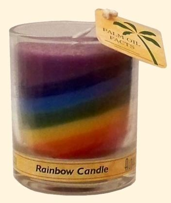 Candle Votive, Glass Chakra Rainbow Unscented