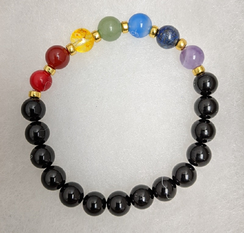 Bracelet, Gold Spacers Seven Chakra Stones 8mm on elastic band