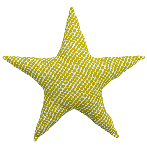 Image of the Printed Star Kids Ready Filled Cuhion | Mustard/Grey | little furn.
