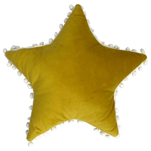 Image of the Star Pom Pom Kids Ready Filled Cuhion | Yellow/White | little furn.