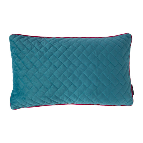 Image of the Tetris Rectangular Quilted Cuhion Cover | Ocean/Hot Pink | Paoletti
