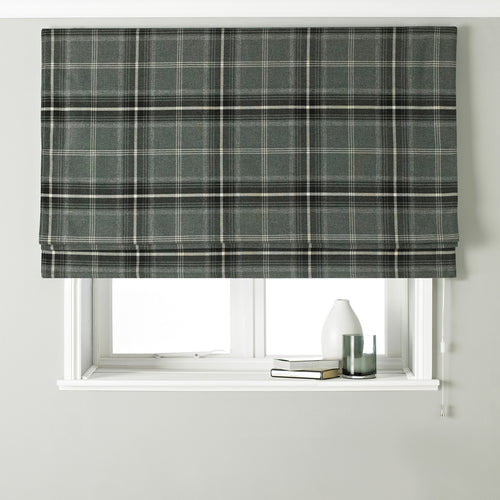 Image of the Aviemore Tartan Faux Wool Roman Blind | Grey | Paoletti