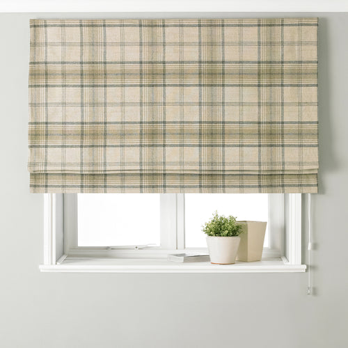 Image of the Aviemore Tartan Faux Wool Roman Blind | Natural | Paoletti