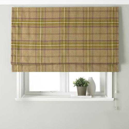 Image of the Aviemore Tartan Faux Wool Roman Blind | Thistle | Paoletti
