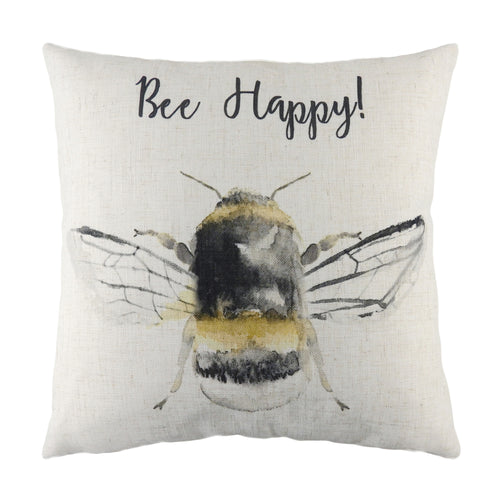 Image of the Bee Happy Printed Cuhion Cover | White | Evans Lichfield