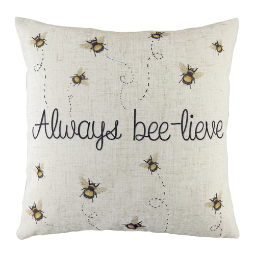 Image of the Bee-Lieve Printed Cuhion Cover | White | Evans Lichfield