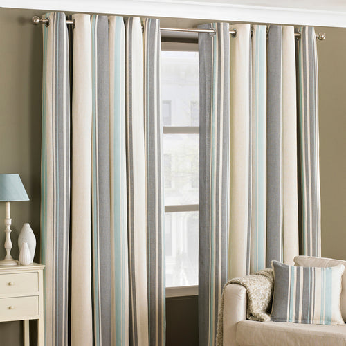 Image of the Broadway Striped Eyelet Curtain | Duck Egg | Essentials