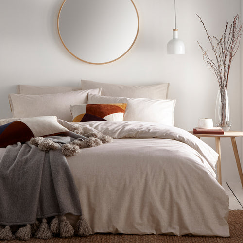 Image of the Claybourne Mélange Duvet Cover Set | Putty | The Linen Yard