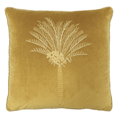 Image of the Desert Palm Embroidered Velvet Cuhion Cover | Olive | furn.