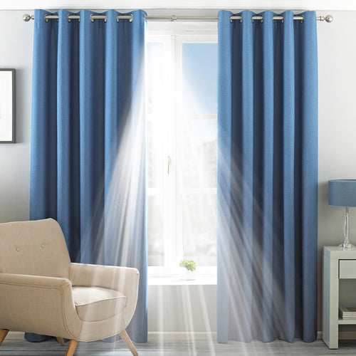 Image of the Twilight Thermal Blackout Eyelet Curtain | Denim | Essentials