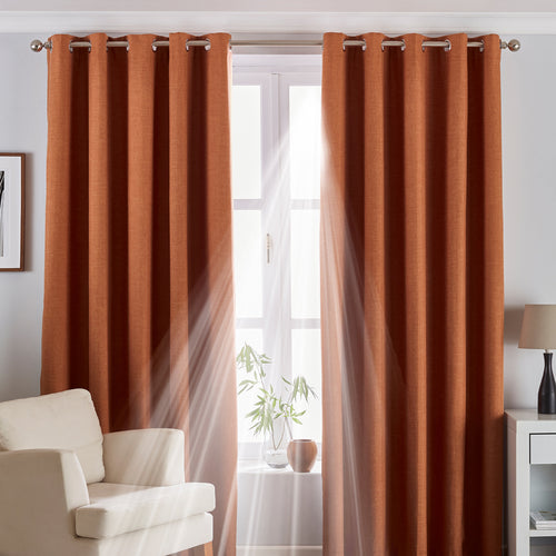Image of the Twilight Thermal Blackout Eyelet Curtain | Burnt Orange | Essentials