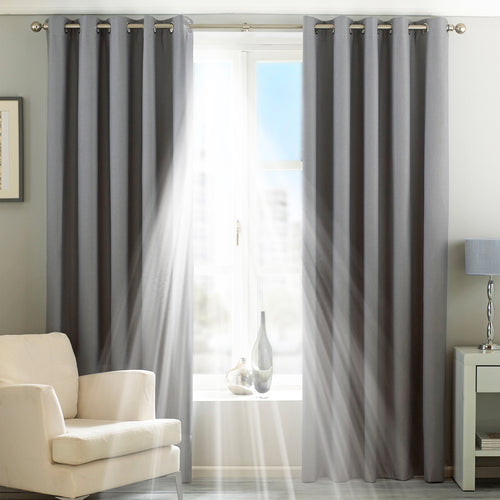 Image of the Twilight Thermal Blackout Eyelet Curtain | Silver | Essentials