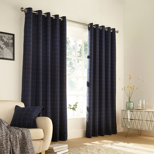 Image of the Ellis Windowpane Check Eyelet Curtain | Navy | furn.
