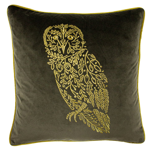 Image of the Forest Fauna Woodland Square Cuhion Cover | Grey/Gold | furn.