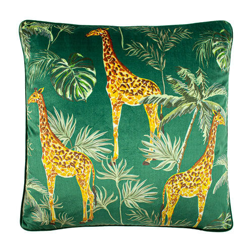 Image of the Giraffe Palm Velvet Cuhion Cover | Green | Paoletti