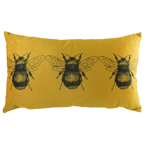 Image of the Gold Bee Rectangular Velvet Cuhion Cover | Gold | Evans Lichfield