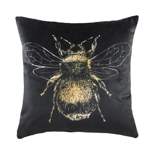 Image of the Gold Bee Velvet Cuhion Cover | Black | Evans Lichfield