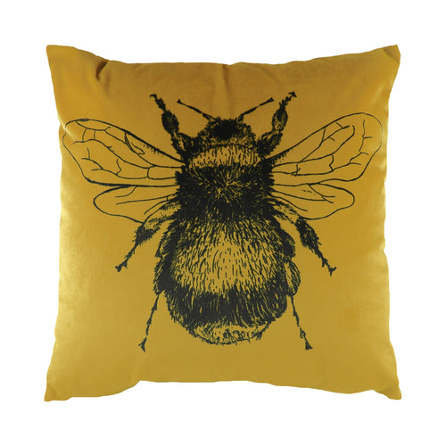 Image of the Gold Bee Velvet Cuhion Cover | Gold | Evans Lichfield