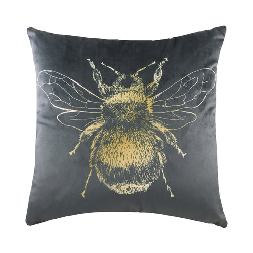 Image of the Gold Bee Velvet Cuhion Cover | Grey | Evans Lichfield