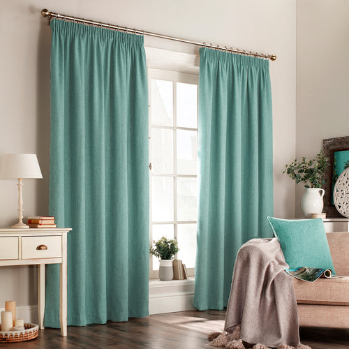 Image of the Harrison Herringbone Weave Pencil Pleat Curtain | Marine Blue | furn.