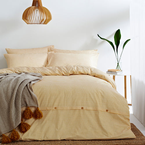 Image of the Holbury Mélange Stripe Duvet Cover Set | Ochre | The Linen Yard