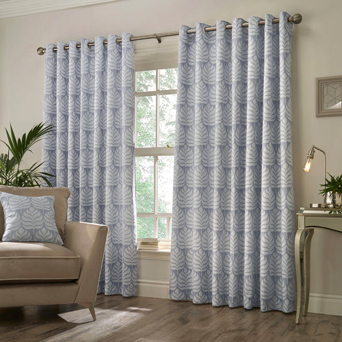 Image of the Horto Botanical Eyelet Curtain | Blue | Paoletti