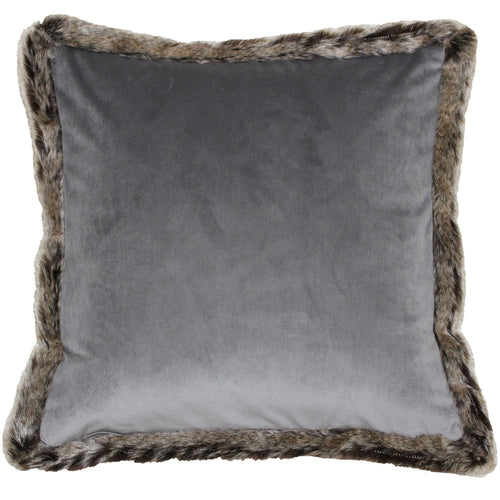 Image of the Kiruna Faux Fur Trim Cuhion Cover | Grey | Paoletti