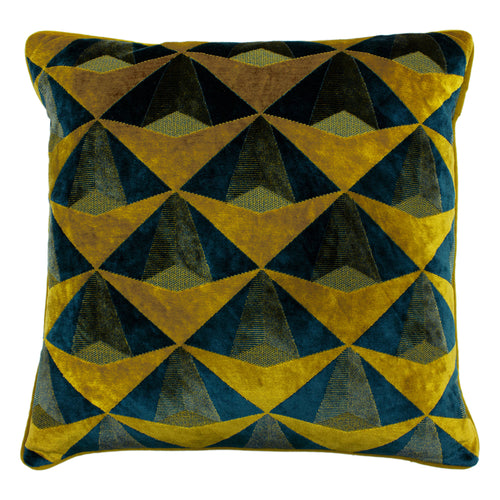 Image of the Leveque Velvet Jacquard Cuhion Cover | Teal/Gold | Paoletti