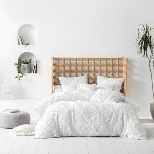Image of the Palm Springs Ogee Tufted Duvet Cover Set | White | Linen House