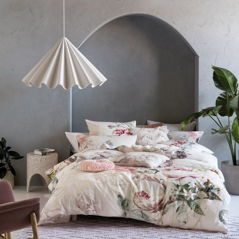 Image of the Sansa Floral Duvet Cover Set | White | Linen House