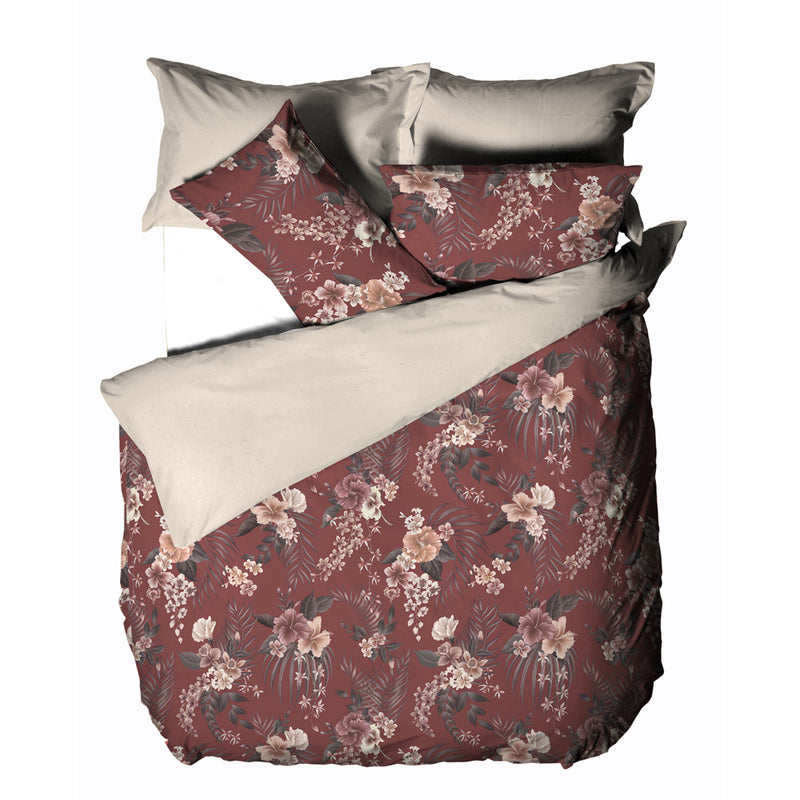 Image of the Taira Cord Piped Floral Duvet Cover Set | Rhubarb/Mocha/Clay | Linen House