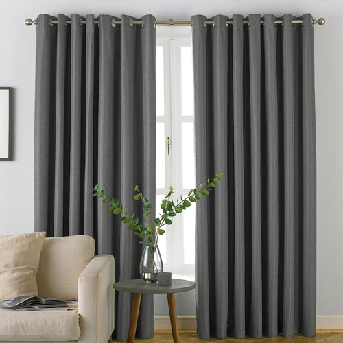 Image of the Moon Premium Thermal Blackout Eyelet Curtain | Grey | furn.