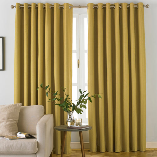 Image of the Moon Premium Thermal Blackout Eyelet Curtain | Ochre | furn.