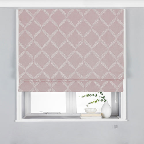 Image of the Olivia Lattice Embroidered Roman Blind | Blush | Paoletti