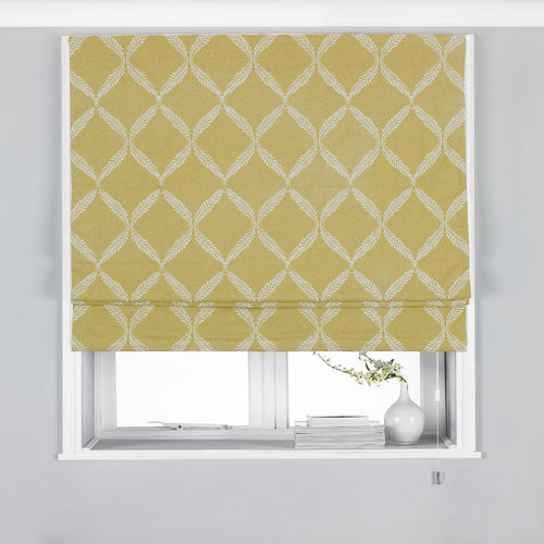 Image of the Olivia Lattice Embroidered Roman Blind | Citron | Paoletti