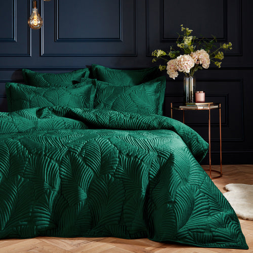 Image of the Palmeria Quilted Velvet Duvet Cover Set | Emerald | Paoletti