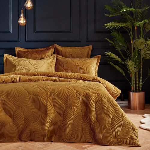 Image of the Palmeria Quilted Velvet Duvet Cover Set | Gold | Paoletti